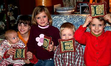 PHOEBE, EVA, AUTUMN, KAI, & SYLVAN - Grandkids during Chgristmas in 2006